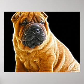 Arrugas, el perro de perrito chino de Shar Pei Póster