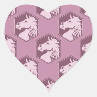 Arsenal del unicornio del rosa de color de malva y pegatina en forma de corazón