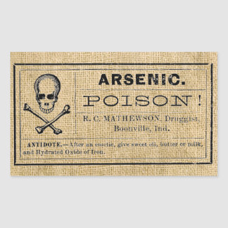 Arsenic Label on Burlap