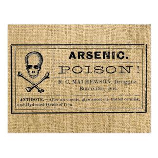 Arsenic Label on Burlap Postcard