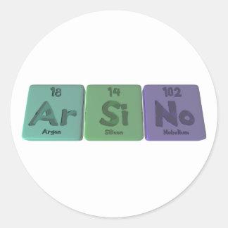 Arsino-Ar-Si-No-Argon-Silicon-Nobelium Classic Round Sticker