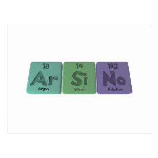 Arsino-Ar-Si-No-Argon-Silicon-Nobelium Postcard