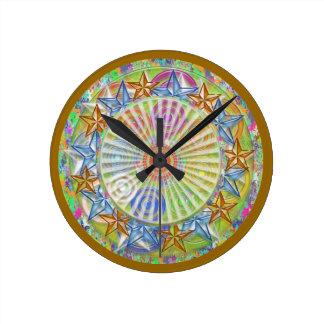 Art101 BlueStar GoldStar Diamond Circle Pattern Round Clock