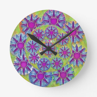 Art101 BlueStar PurpleStar Design Jewel Pattern Round Clock