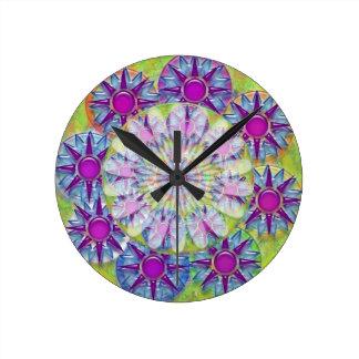 Art101 BlueStar PurpleStar Design Sunfower Pattern Round Clock