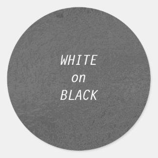 Art101 BNW Circles n Text Samples - White on Black Classic Round Sticker