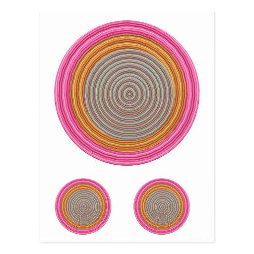 Art101 color caliente magnífico - círculos de Silk Tarjeta Postal