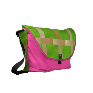 Art101 Light Green Checks n Pink base Messenger Bag