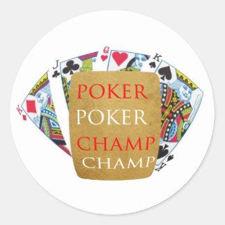 ART101 Poker Champion - Zazzle PlayingCards design Classic Round Sticker