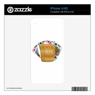 ART101 Poker Champion - Zazzle PlayingCards design iPhone 4S Decal