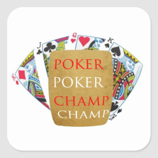 ART101 Poker Champion - Zazzle PlayingCards design Square Sticker