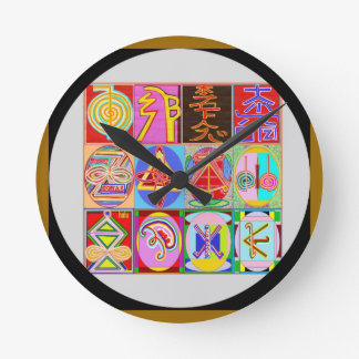 Art101 Reiki n Karuna Healing Symbol Collection Round Wall Clock
