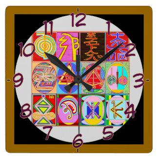 Art101 Reiki n Karuna Healing Symbol Collection Square Wall Clocks