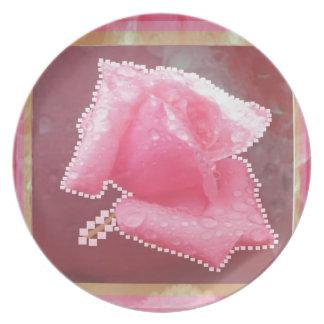 ART101 Sensual Rose Flower Dinner Plates