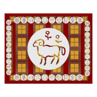 ART101 ZODIAC  Oriental Chinese  Red Energy Poster