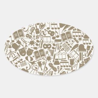 Art a background oval sticker