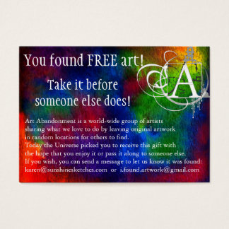 Art Abandonment Dark Rainbow Watercolor Business Card