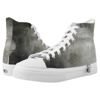 art abstract grunge black and white textured High-Top sneakers
