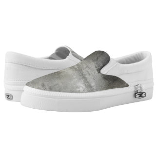 art abstract grunge black and white textured Slip-On sneakers