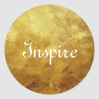 art abstract painted background in golden color classic round sticker