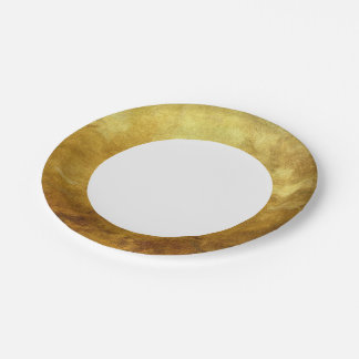 art abstract painted background in golden color paper plate