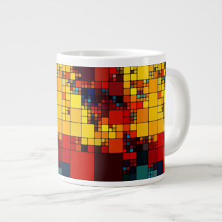 Art abstract vibrant rainbow geometric pattern giant coffee mug
