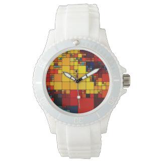 Art abstract vibrant rainbow geometric pattern wrist watch