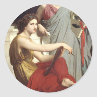 Art and Literature by William-Adolphe Bouguereau Classic Round Sticker
