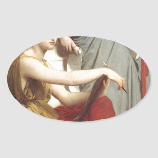 Art and Literature by William-Adolphe Bouguereau Oval Sticker