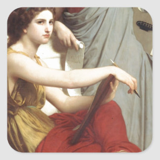 Art and Literature by William-Adolphe Bouguereau Square Sticker
