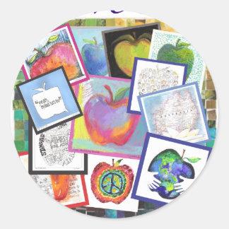 Art Apple Collage Classic Round Sticker