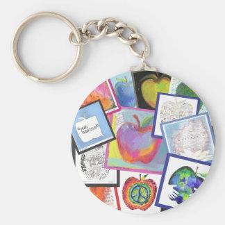 Art Apple Collage Keychain