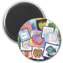 Art Apple Collage Magnet