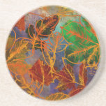 Art Autumn Leaves Background In Rainbow Colors Drink Coaster
