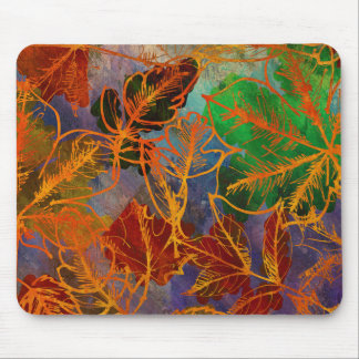 Art Autumn Leaves Background In Rainbow Colors Mouse Pad
