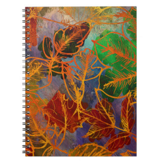 Art Autumn Leaves Background In Rainbow Colors Spiral Note Books