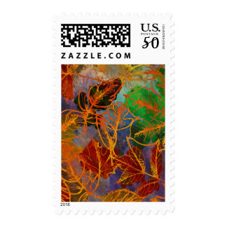 Art Autumn Leaves Background In Rainbow Colors Postage