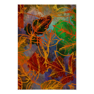 Art Autumn Leaves Background In Rainbow Colors Poster