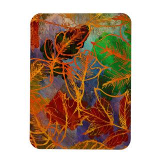 Art Autumn Leaves Background In Rainbow Colors Rectangular Photo Magnet