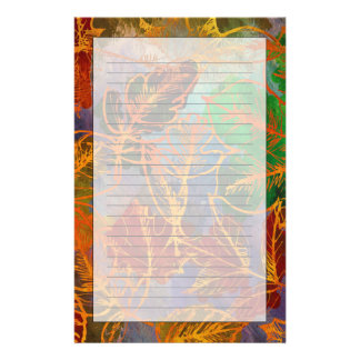 Art Autumn Leaves Background In Rainbow Colors Customized Stationery