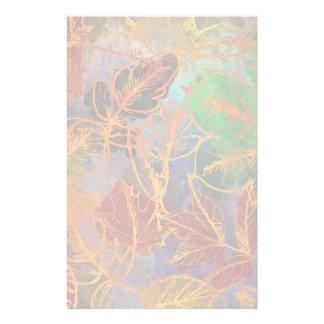 Art Autumn Leaves Background In Rainbow Colors Stationery Paper