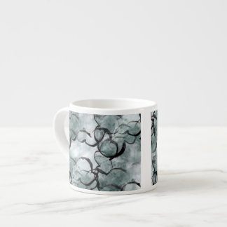 art avant-garde gray, black hand paint espresso cup