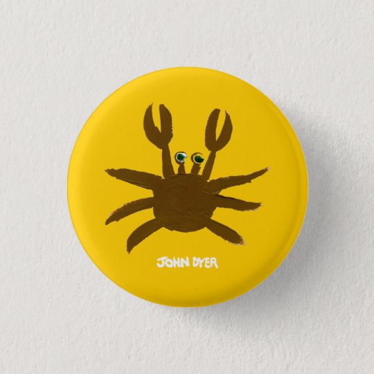 Art Badge Button: John Dyer Crazy Beach Crab Button