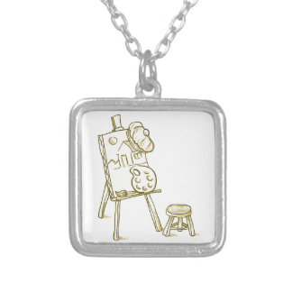 Art Board Illustration Silver Plated Necklace
