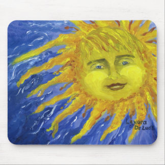 Art, Bright Yellow Sun in Blue Sky Mouse Pad