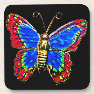 Art Butterfly Design in Red and Blue on Black Beverage Coaster