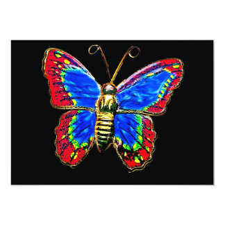 Art Butterfly Design in Red and Blue on Black Card