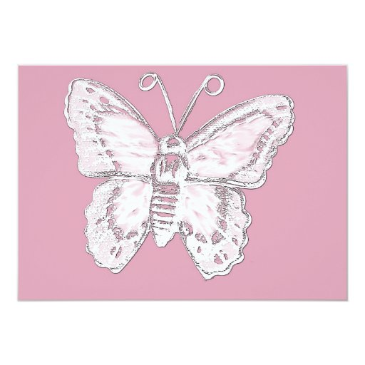 Art Butterfly Design in White on Pale Pink 5x7 Paper Invitation Card