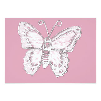 Art Butterfly Design in White on Pale Pink Card