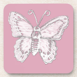 Art Butterfly Design in White on Pale Pink Coaster